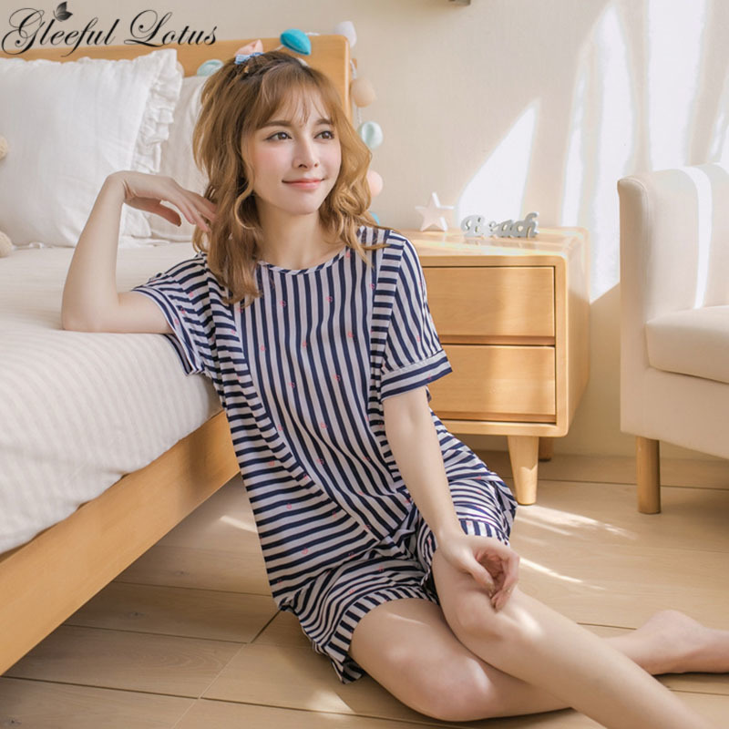 Cotton Summer Striped Pajamas Set Short Pants Short Sleeve Ladies Homewear Home Clothes Night Suits Loungewear Japanese Korean ...