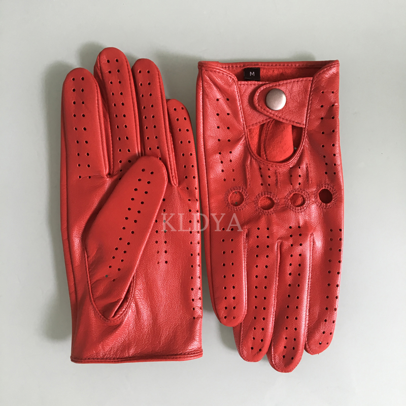 New Arrival Luxury Men Goatskin Gloves Fashion Red Genuine Leather Unlined Driving Gloves Solid Wrist Breathable Women Mittens