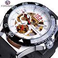 Forsining новые модные механические часы с автоматическим скелетом для мужчин  мужские спортивные часы с ремешком из натуральной кожи  наручные...