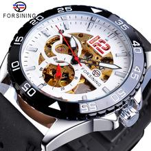 Forsining New Fashion Mechanical Watch Automatic Skeleton Men Male Racing Sport Genuine Leather Strap Wrist Watches Reloj Hombre