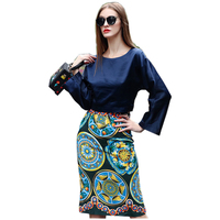 Elegant Women S Vintage 2 Pieces Skirt Set Falre Sleeve Blouse Slim Skirt Fashion Runway Twin