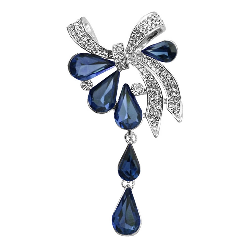 New Arrival Fashion Bow Brooches For Women Rhinestone Water Drop Crystal Brooch Pin 3 Colors Available Summer Jewelry