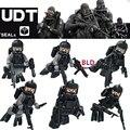 6 unids WW2 Contra U. S NAVY SEALs Husky Guardia Militar policía SWAT Ejército arma Soldado building blocks juguetes de los ladrillos