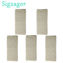 [Sigzagor]5 вкладышей для подгузников для детей от 2 до 7 лет, от недержания мочи для маленьких детей, многоразовые тканевые подгузники из бамбука, 4 слоя