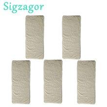 [Sigzagor]5 Junior pañales inserciones para 2 7 años niños grandes niño incontinencia desactivar pañal reutilizable ropa de bambú de 4 capas