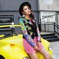 ПУ куртка девушка печати моды кожаное пальто экипировка черный ночной клуб DJ певица DS костюм женщины sexy dancer звезды шоу супер звезда