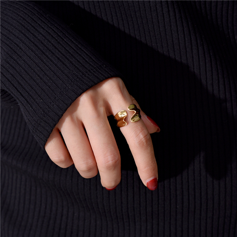European and American design brass gilded fold open ring woman simple personality tide man metal ring