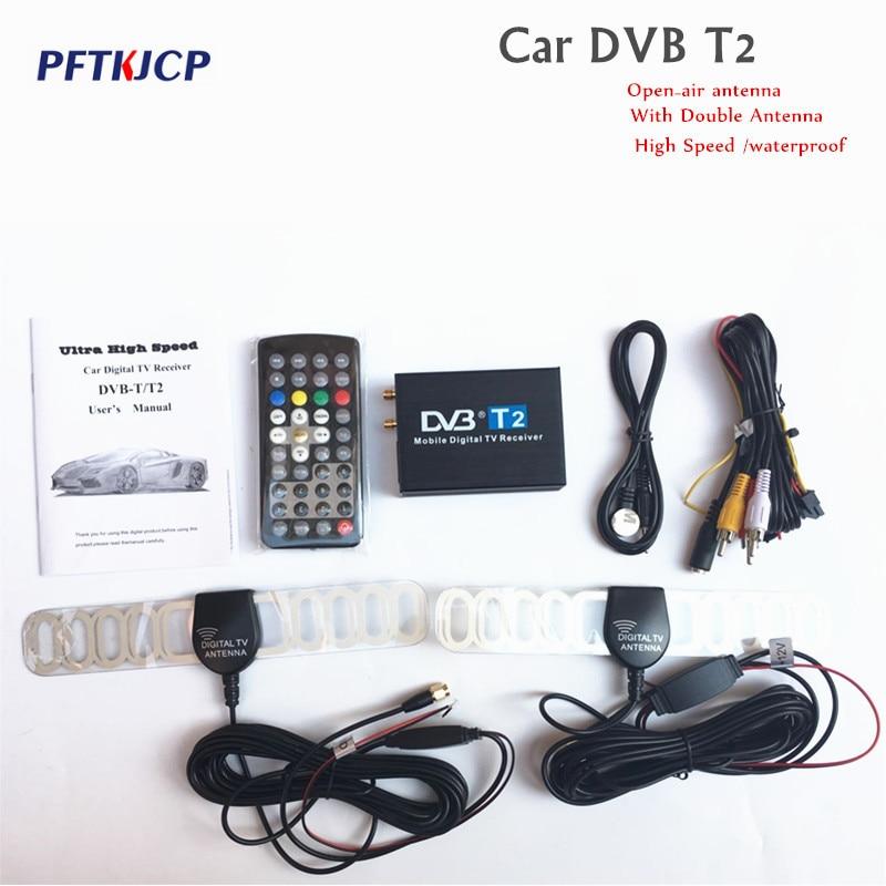 Haute Vitesse 110 km/h D'or DVB T2 Voiture DVB-T Double Antenne DVB-T2 Voiture DVB T H.264 MPEG4 Externe USB Numérique voiture TV Tuner