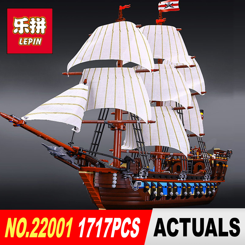 NEW LEPIN 22001 Pirate Ship warships Model Building Kits  Block Briks Boy Toys Gift 1717pcs Model Compatible with 10210 lepin 16002 22001 16042 pirate ship metal beard s sea cow model building kits blocks bricks toys compatible with 70810