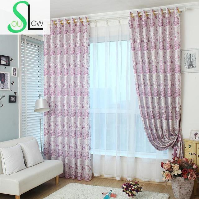 Langsam Seele Lila Braun Rose Moderne Einfachheit Jacquard Vorhänge  Maßgeschneiderte Floral Europa Vorhang Für Wohnzimmer Küche