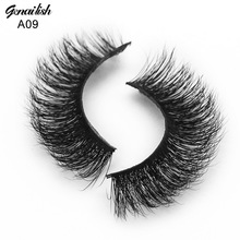 Genailish Mink Lashes 3D Strip Mink Eyelashes Handmade Natural False Eyelashes  Fake Eye Lash Extension for Makeup-A09