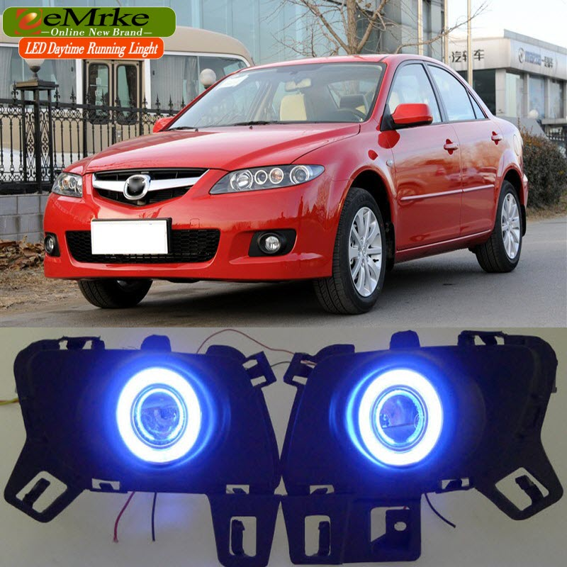 eeMrke Daytime Running Lights For Mazda6 Sedan Wagon LED Angel Eye DRL Halogen H11 55W Fog Lamp Kits for opel astra h gtc 2005 15 h11 wiring harness sockets wire connector switch 2 fog lights drl front bumper 5d lens led lamp