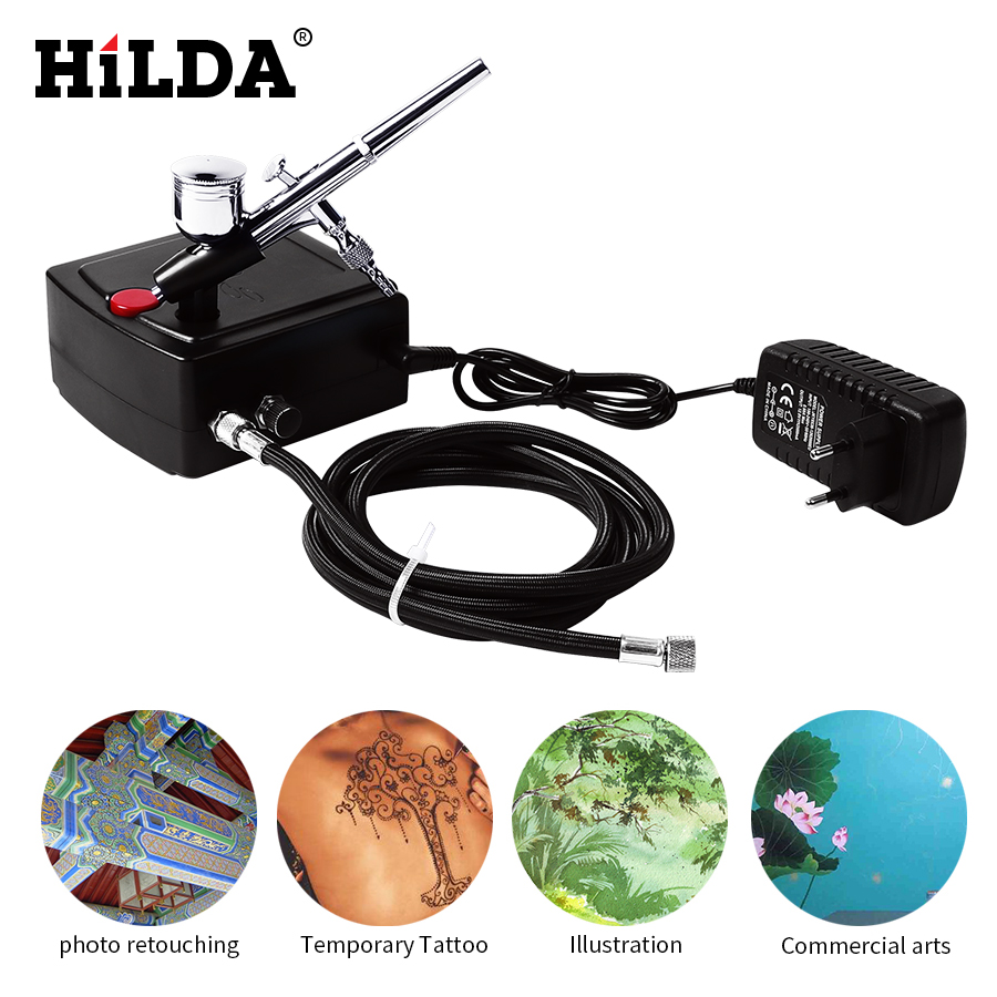 купить HILDA Spray Gun Dual Action Airbrush Air Compressor Kit Art Painting Tattoo Manicure Craft Cake Spray Model Air Brush Tool Set по цене 3279.52 рублей