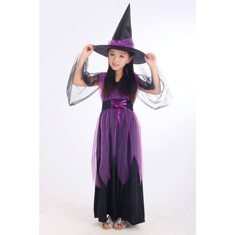 halloween girls kids witch costume purple fly witch elf magician