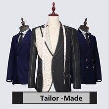 Бренд шерсть Ретро джентльменский стиль на заказ мужские костюмы портной костюм Блейзер костюмы для мужчин 3 предмета(пиджак+ брюки+ жилет