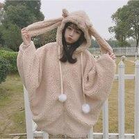 Harajuku Style Lolita Batwing Sleeve Hoodie 2018 Autumn Winter Warm Kawaii Costume With Bunny Ears Zipper Hoodies Women Girls