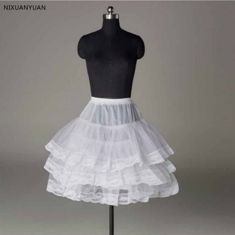 Short Petticoat With Lace Edge For Prom Wedding Dress Women A Line Underskirt Bridal Crinoline Jupon Petticoat