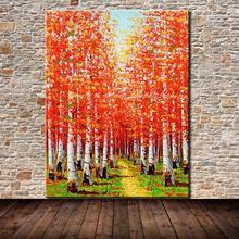 Ручная роспись красные деревья пейзаж картина маслом на холсте Современная Настенная картина для гостиной домашний Декор без рамки