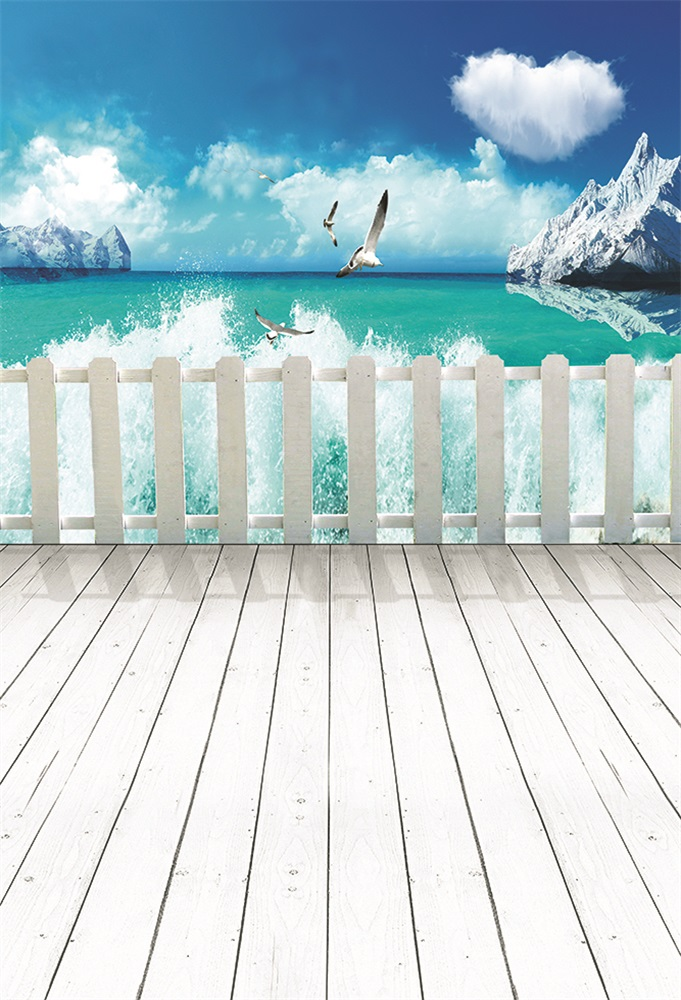 Laeacco Seagull Island Wooden Board Seaside Scene Photography Backdrops Customized Photographic Backgrounds For Photo Studio in Background from Consumer Electronics
