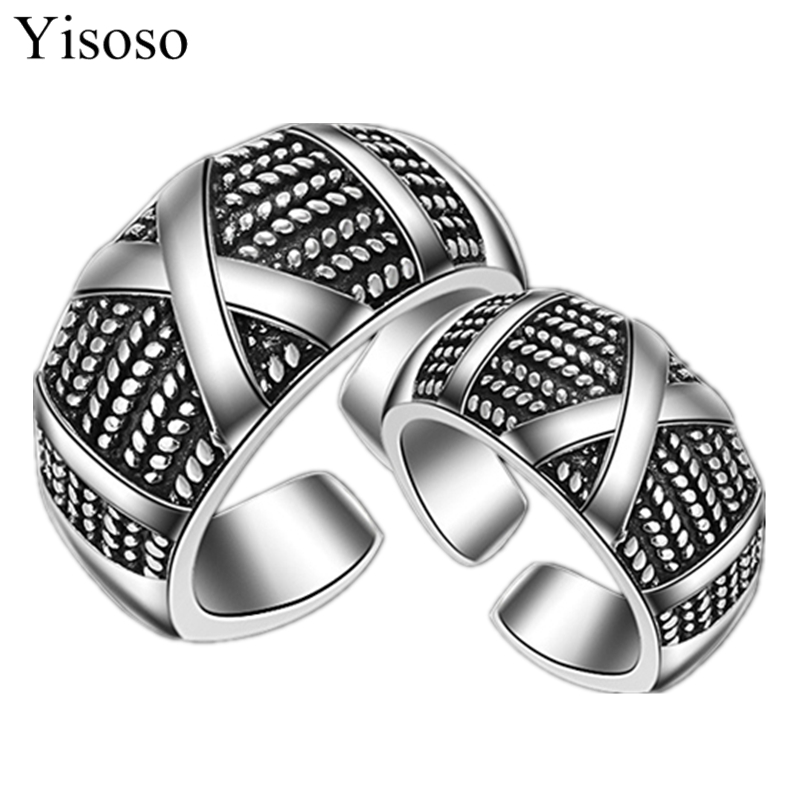 Yisoso New fork Punk Rock Stainless Steel Mens Biker Rings Vintage Gothic Jewelry Ancient Silver Color