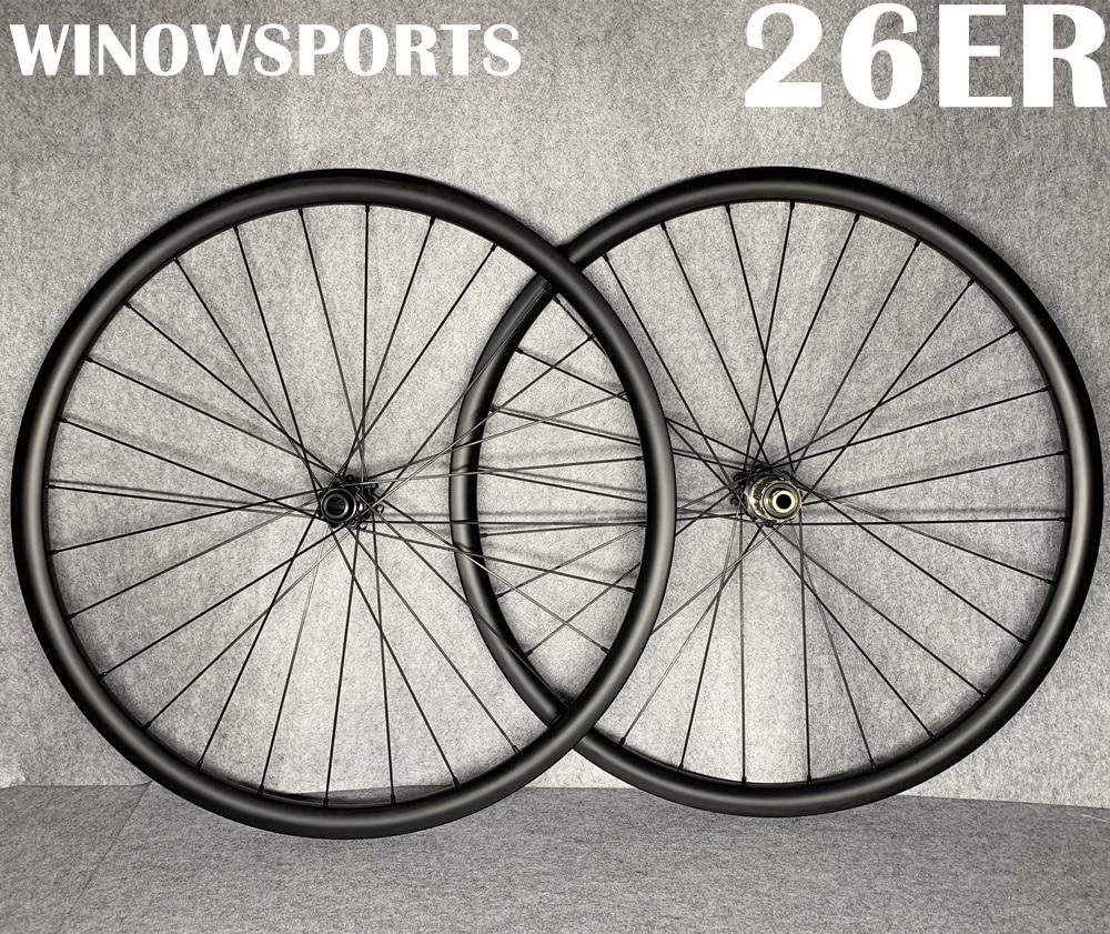 Winowsports 26er VTT roues en carbone frein à disque vtt 26 pouces roue en carbone