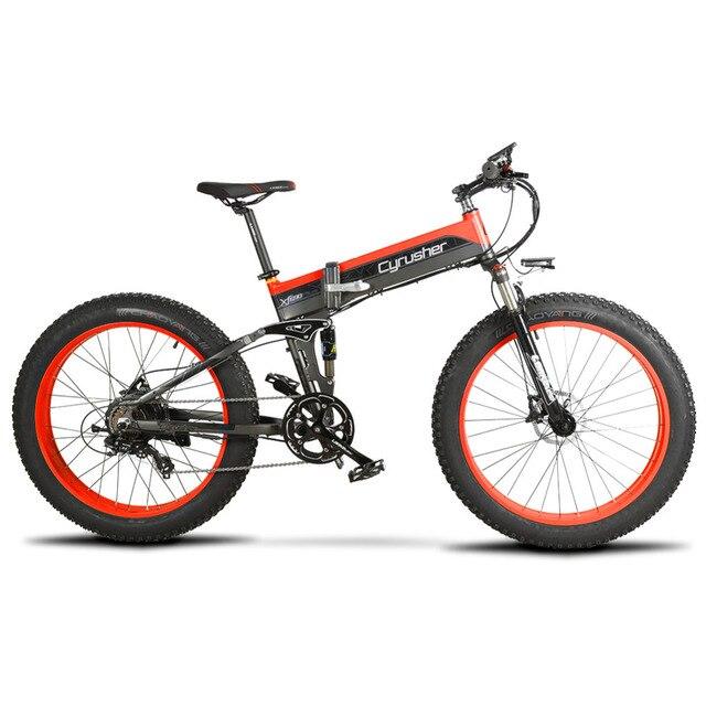 Cyrusher Ebike 500 Вт 48 В 10AH XF690 складной Fat tire велосипед полностью подвесная рама 7 скоростей складной электрический велосипед складной Снежный велосипед