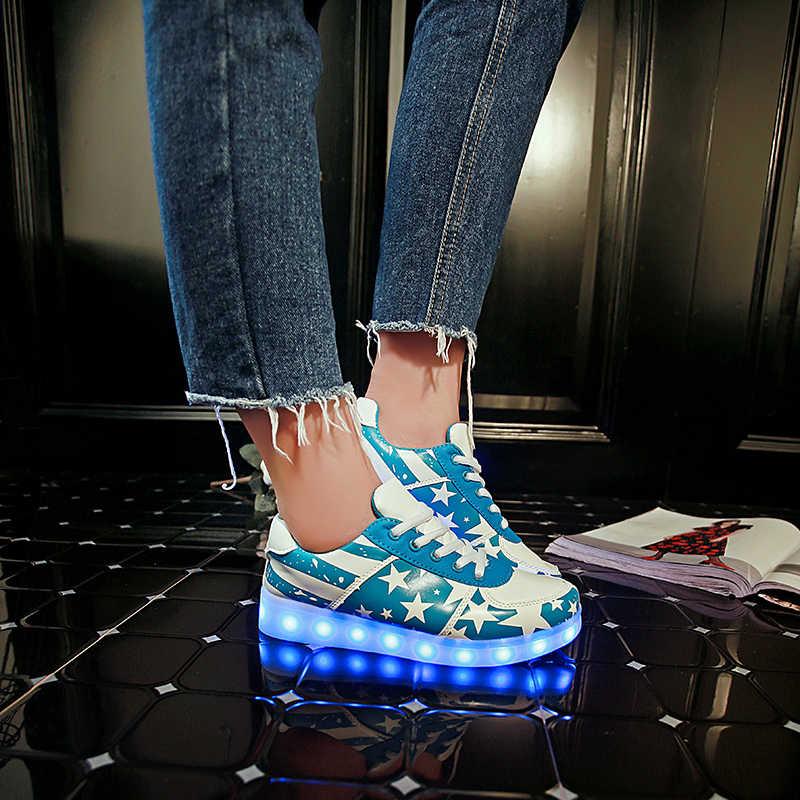 7ipupas led 7 สี chaussures เด็ก usb ชาร์จไฟ Led รองเท้าผ้าใบ Emitting Luminous boy สาว Street dance เรืองแสงรองเท้าผ้าใบ