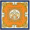2016 130*130 см Хорошо Quality100 % шелковый шарф квадратный шарф женщин Hreaded Металлический Цветок Печати хиджаб шарф бренд женские шарфы LS046