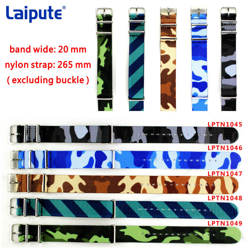 Army Military Nato Nylon Watch Band 20mm Camouflage fabric Woven watchbands Strap Buckle belt 22mm accessories