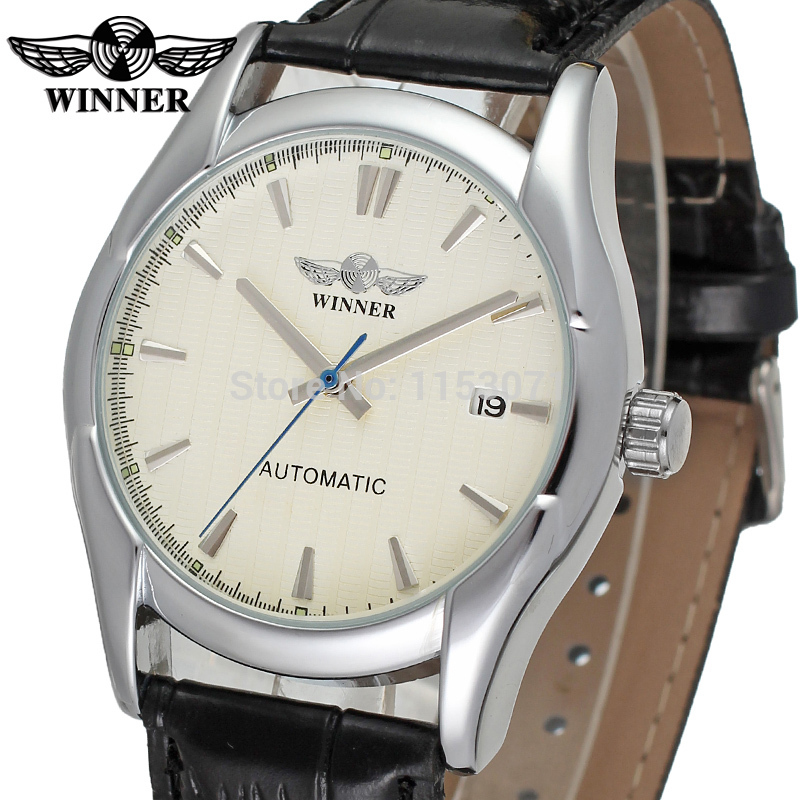 online buy whole watch company men from watch company wrg8050m3s5 winner new automatic men silver color dress watch factory company black leather strap shipping