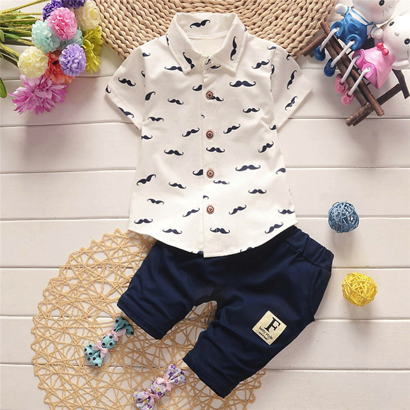 2PCS Summer Baby Clothes Toddler Kids Baby Boys Short Sleeve Beard Print T-Shirt Tops+Shorts Pants Set Boy Sets Clothes M8Y30#F 2018 casual toddler baby boy clothes set short sleeve t shirts tops camouflage pants 2pcs outfits roupas infantis menina 10 12