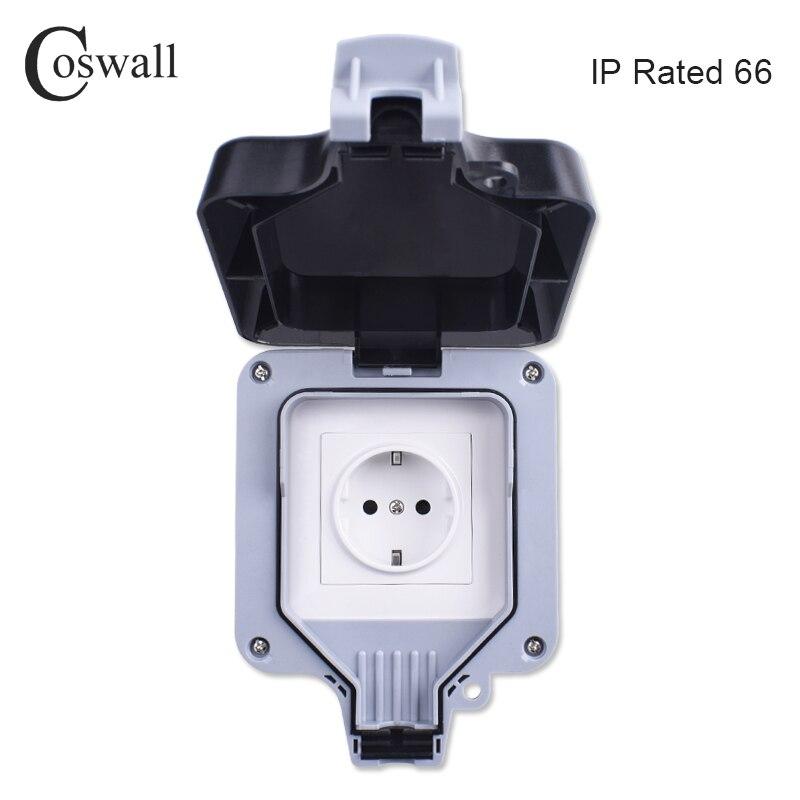 Coswall IP66 impermeable al aire libre de toma de pared 16A estándar de la UE toma eléctrica tierra AC 110 ~ 250 V