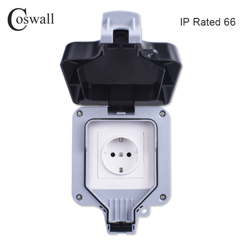 все цены на Coswall IP66 Weatherproof Waterproof Outdoor Wall Power Socket 16A EU Standard Electrical Outlet Grounded AC 110~250V онлайн