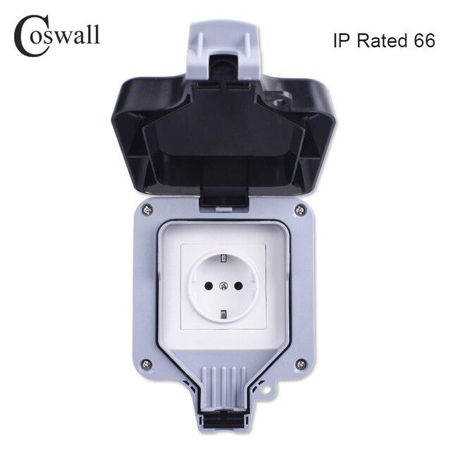 Coswall Ip66 Weatherproof Waterproof Outdoor Wall Power Socket 16a
