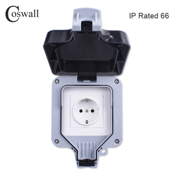 Coswall IP66 Weatherproof Waterproof Outdoor Wall Power Socket 16A EU Standard Electrical Outlet Grounded AC 110~250V