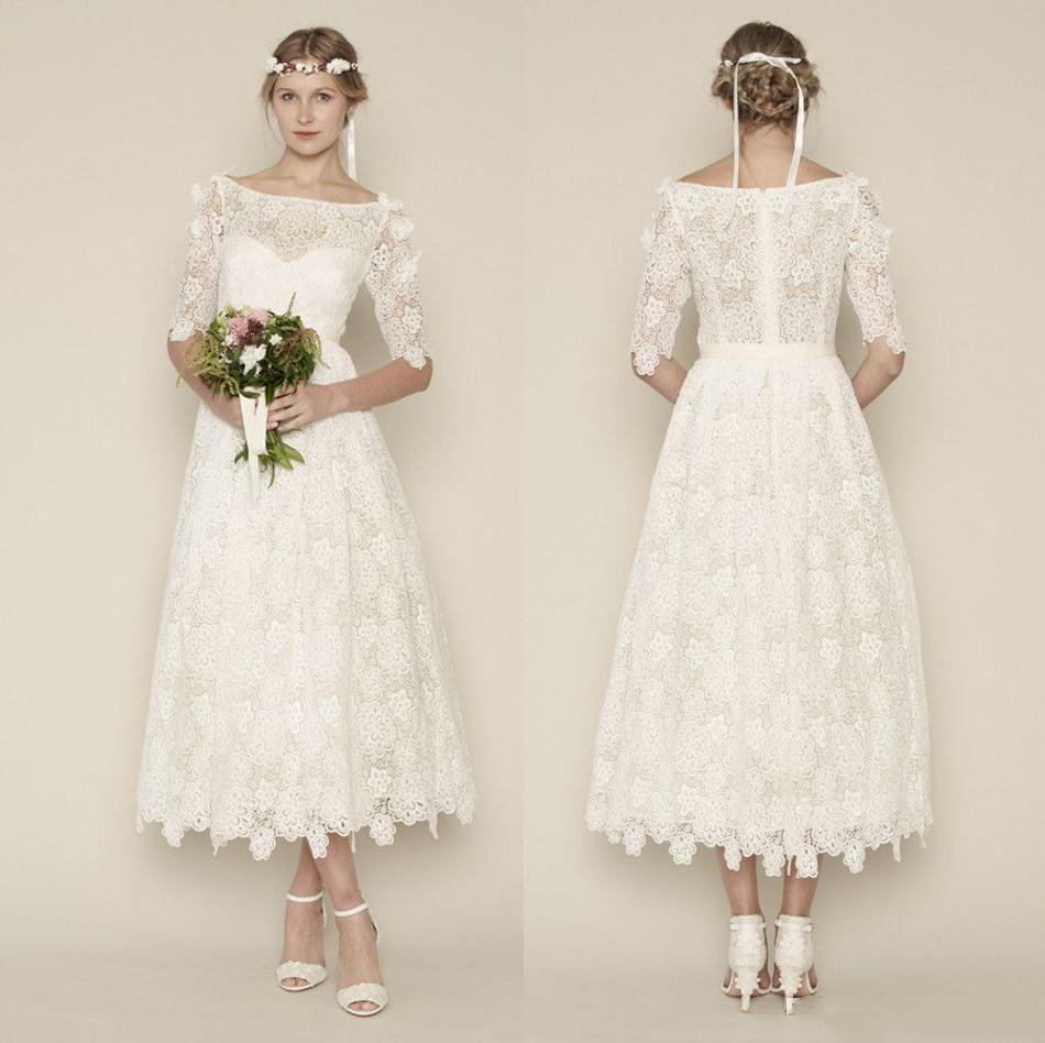 Fascinating Size Boho Beach Short Lace Wedding Dresses Half Sleeves Cheap Lace Bridal Dress Vintage 2015 Size Vintage Style Wedding Dresses Uk Size Retro Bridesmaid Dresses