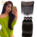 Ear to Ear Lace Frontal Closure With Bundles Brazilian Straight Hair With Frontal Human Hair Brazilian Virgin Hair With Closure
