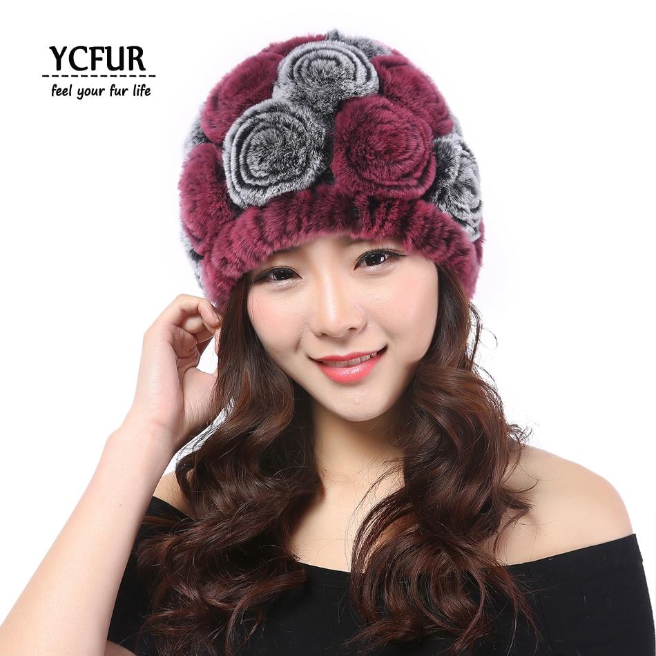 YCFUR Women Caps Winter Warm Soft Knit Natural Rex Rabbit Fur Female Beanies Hats For Girls Flowers Skullies Hats баскетбольные кроссовки adidas 39 48 t mac g59092
