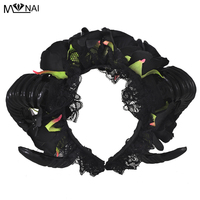 Manual Aries Steampunk Black Roses Flowers Sheep Horn Ear Hair Hoop Forest Animal Photography Exhibition Cosplay Headband Access