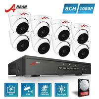 ANRAN P2P Plug And Play 1080P 8CH POE NVR HD IR Dome Indoor 2 0MP IP