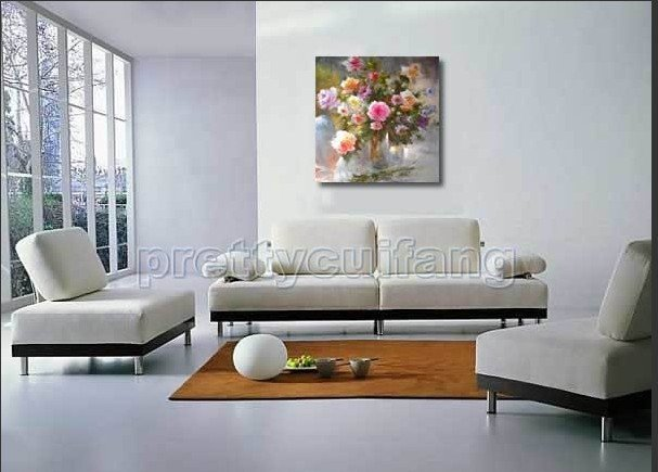 Stretched On Wooden Box Large Hand-Painted Flowers Oil Paintings On Canvas Pfw44