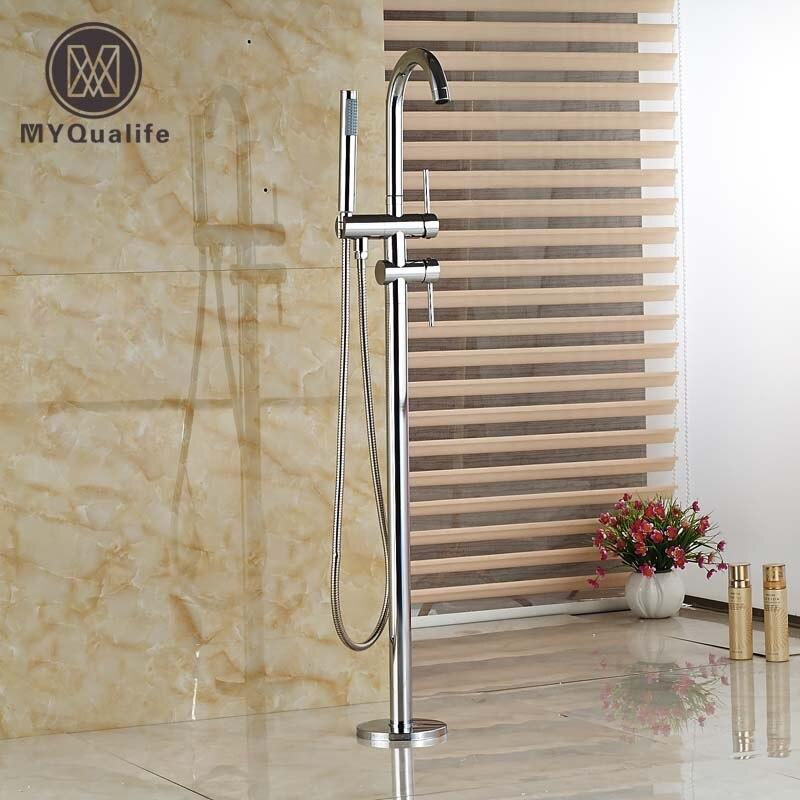 Brass Chrome Bathroom Floor Mount Tub Faucet Bathtub Mixer Taps Single Handle with Handshower цена и фото
