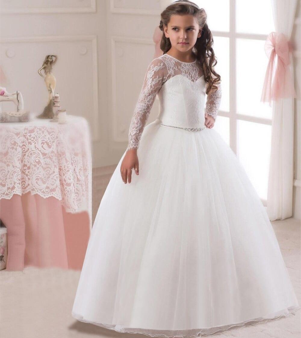 Elegant long sleeve lace Baby Girls Dress Wedding Ball Gown Dress ...