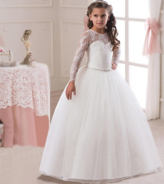 Elegant long sleeve lace Baby Girls Dress Wedding Ball Gown Dress ...