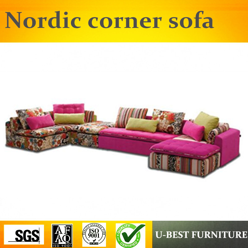 U-BEST nordic living room furniture solid wood sofa set corner couch, L shape sofa set with pink seat cushion image