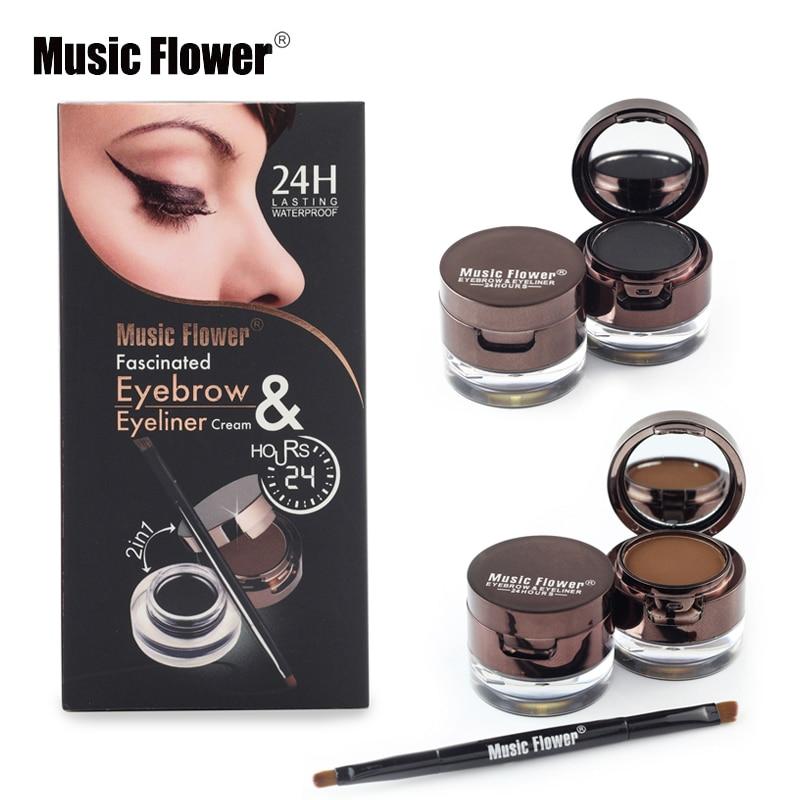 Music Flower Brand Makeup Set Kit Waterproof Eyeliner Gel Eyebrow Powder Long Lasting Eye Liner Natural Eye Brow Brush Cosmetics
