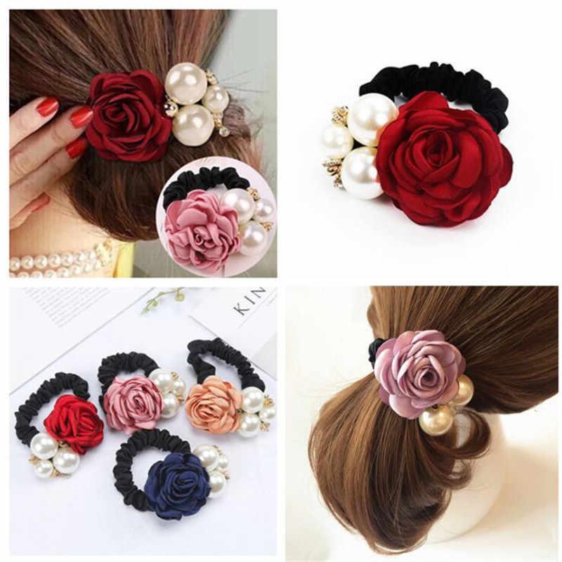 1pc Haar Accessoires Vrouwen Mode Stijl Grote Rose Bloem Parel Strass Haarbanden Elastische Haar Touw Ring 5 Kleuren voor Meisjes