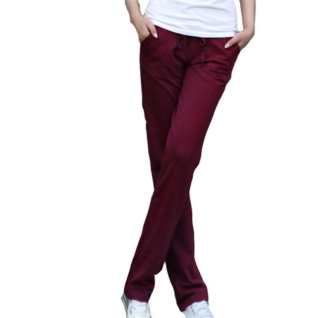 Mulheres Outono Plat Pantalones Calças Soltas Moda Senhora Calças Cordão Da Calça Elástica Calças Lápis Calças de Algodão Roupas L011