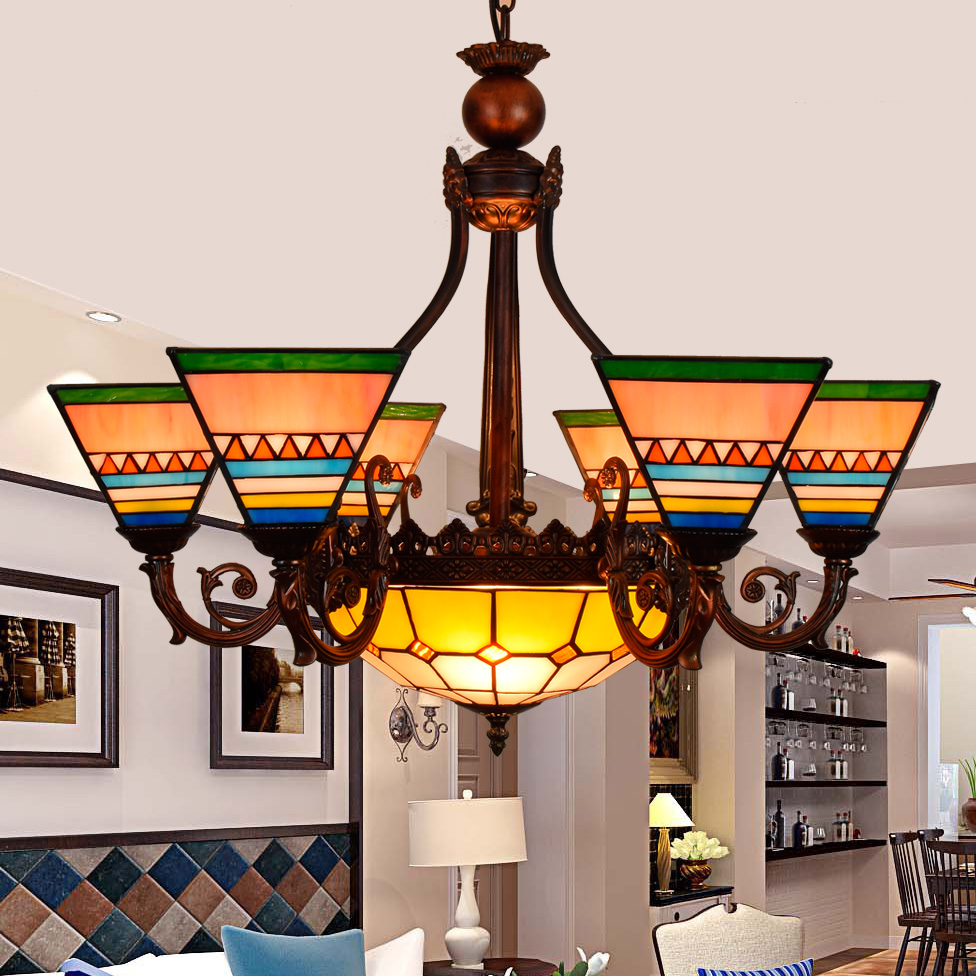 European tiffany retro warm colors style pendant light stained glass bar restaurant  living room lamp E27 110-240V fumat stained glass lamp european style antique chandelier complex classic living room hotel glass art lamp curtains beads lamp