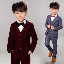 Blue Boy Suit Children Formal Blazer Suit for Wedding Jacket+Vest+Pants 3 Piece Plaid Single Breasted Blazers Set EB072
